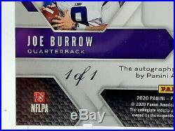 1/1 2020 Panini Draft Picks BLACK PRIZM JOE BURROW /JEFERSON RC AUTO Rare 1 of 1