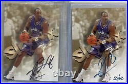 1998-99 Skybox Autographics Karl Malone Black & Blue /50 On Card Auto BGS Jazz