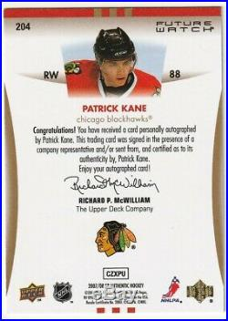 2007-08 Sp Authentic Patrick Kane Rookie #204 Future Watch RC /999 Black Hawks