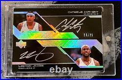 2007-08 UD Black LeBron James Carmelo Anthony Dual Auto 20/25 #JA Autograph