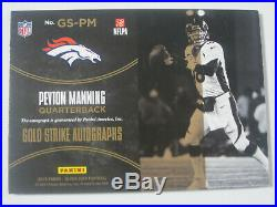 2016 Panini Black Gold Peyton Manning Signed Autographed Gold Strike #'d 5/25