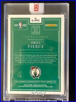 2018-19 Impeccable PAUL PIERCE On Card Autograph #03/15 Illustrious Ink Encased
