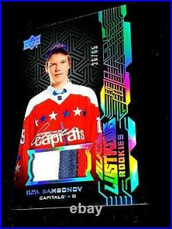 2018-19 UD Black Lustrous Rookie Patch Auto Ilya Samsonov On Card Autograph /65