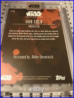 2019 Topps Star Wars Stellar Autograph Auto ALDEN EHRENREICH BLACK #1/1 Han Solo