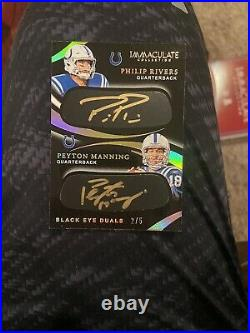 2020 Panini Immaculate Peyton Manning & Phillip Rivers Auto #/5 Black Eye Dual