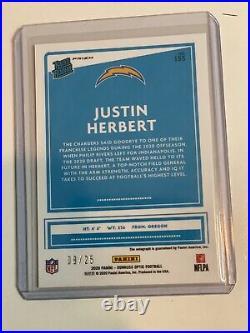 2020 Panini Optic Justin Herbert Rookie Autograph Black Pandora Rc Aut0 8/25 Ssp