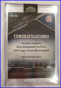 2020 TOPPS CHROME BLACK HANK AARON RED REFRACTOR AUTO AUTOGRAPH 1/5 Braves HOF