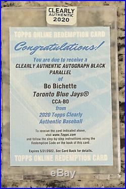 2020 Topps Clearly Authentic Bo Bichette Black Parallel RC #/75 Auto Autograph