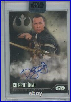 2020 Topps Star Wars STELLAR Donnie Yen BLACK AUTO #1/1 Chirrut Imwe signed