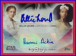 2020 Women of Star Wars Billie Lourd / Naomi Ackie 1/5 Dual Autographs Black