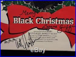 Black Christmas (1974) 11x17 autographed movie poster Margot Kidder, John Saxon