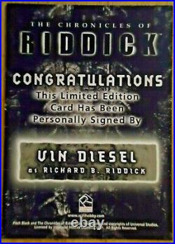 Chronicles Of Riddick MOVIE Pitch Black Vin Diesel Auto/Autograph On Card RARE