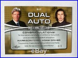 HARRISON FORD ADAM DRIVER DUAL AUTO Leaf Pop Century Black SSP 3/3 Autograph