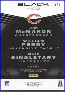 Jim McMahon William Perry Mike Singletary 2020 Black Super Bowl Triple Auto 5/5