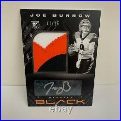 Joe Burrow 11/25 2020 Panini Black RPA. Autograph + Tri-color Patch ROOKIE CARD