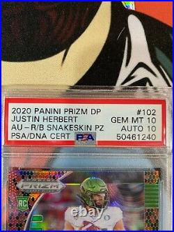 Justin Herbert 2020 Panini Prizm Draft Picks Autograph-Red/Black Snakeskin PRIZM