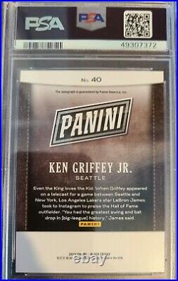 Ken Griffey jr PSA GEM 10 2019 Panini Black Friday Auto Autograph 7/10. POP 1