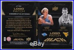 LARRY BIRD JERRY WEST 2011-12 UD Black Dual Signed Auto Logo Patch Booklet 4/25