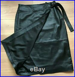M&S AUTOGRAPH Black Leather Skirt Belted Straight Wrap BNWT UK16 EUR44 RRP £199