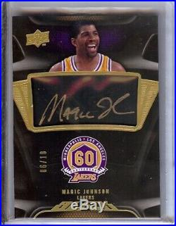Magic Johnson 2008-09 UD Black 60th Auto Autograph Lakers #C-MJ 06/10