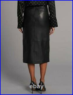 Marks & Spencer Autograph Black Leather Pencil Skirt size 18 BNWT