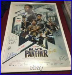 Marvel's Black Panther Movie Poster CAST SIGNED Premiere Chadwick Boseman LOA