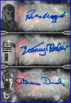 Star Wars ESB Black & White Triple Autograph Card Mayhew & Baker & Daniels