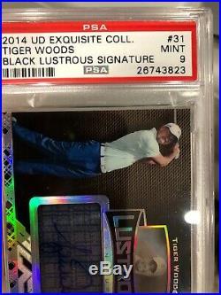 Tiger Woods 2014 UD Exquisite Black Lustrous Autograph 40/75 PSA 9 Mint Masters