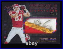 Travis Kelce 2015 Panini Black & Gold Auto Game Used 3 Color Jersey Patch #/25