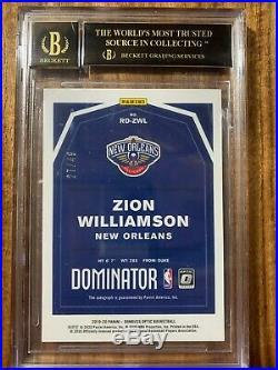 Zion Williamson 2019-20 Donruss Optic Auto #49 BGS 10 Pristine BLACK LABEL